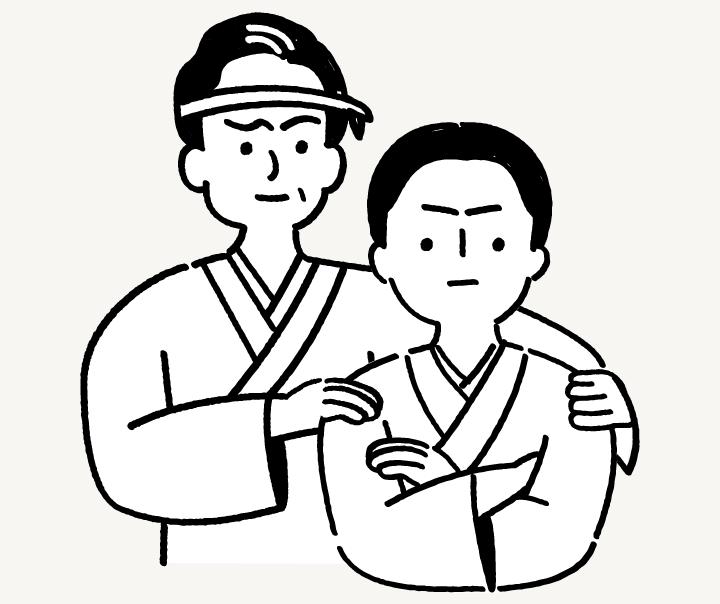 新潟の建設会社 田中勘三郎と田中栄八郎のイラスト