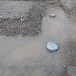 土工事中の大雨