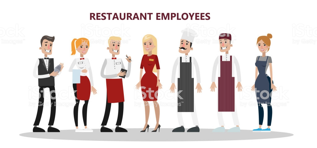 Restaurant employees set. Chef, manager and waiter